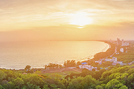 Bird view over mae ramphung beach in Rayong as the sun set.