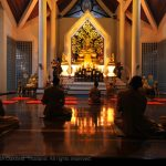 Serene interior of temple in Rayong
